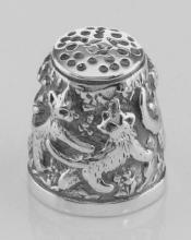 Adorable Antique Style Sterling Silver Cat / Kitten Sewing Thimble #97397v2