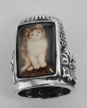 Cute Porcelain Cat / Kitty / Kitten Sewing Thimble - Sterling Silver #97398v2