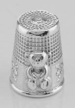 Antique Style Sterling Silver Teddy Bear Sewing Thimble #97393v2