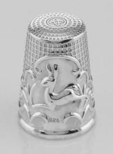 Classic Antique Style Leaping Deer Sterling Silver Sewing Thimble #97396v2