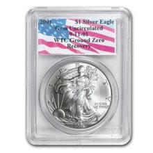 2001 Silver American Eagle Gem Unc PCGS (World Trade Center) #74958v3
