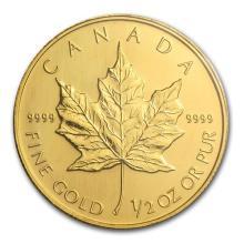 2005 Canada 1/2 oz Gold Maple Leaf BU #75466v3