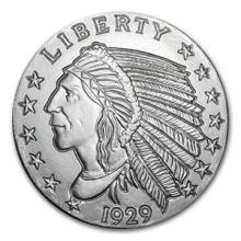 5 oz Silver Round - Incuse Indian #74488v3