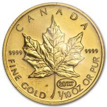 1999 Canada 1/10 oz Gold Maple Leaf BU (20 Years ANS Privy) #75456v3