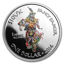2014 1 oz Silver Proof Native American Mint $1 Fancy Dancer #74604v3