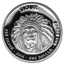 2016 1 oz Silver Proof State Dollars South Dakota Sioux #74584v3