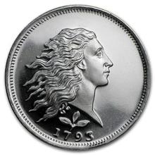 1/2 oz Silver Round - Flowing Hair #74485v3