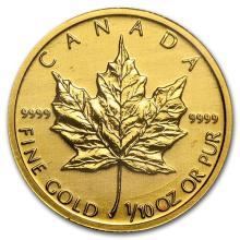 Canada 1/10 oz Gold Maple Leaf (Random Year) #75414v3