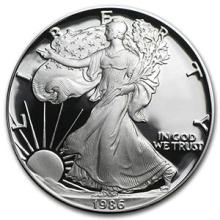 1986-S 1 oz Proof Silver American Eagle (w/Box & COA) #74955v3