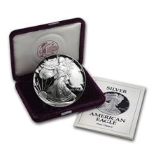 1993-P 1 oz Proof Silver American Eagle (w/Box & COA) #74987v3