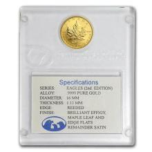 1998 Can 1/10 oz Gold Maple Leaf BU (Family of Eagles, In Assay) #75459v3