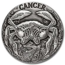 1 oz Silver Round Cancer - Zodiac Series #74599v3