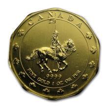 1997 Canada 1 oz Gold Mountie Maple Leaf BU #75469v3