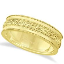 Carved Mens Wedding Ring Diamond Cut Band 18k Yellow Gold (7 mm) #PAPPS21312
