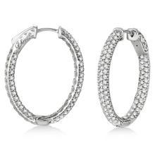 Pave-Set Inside-Outside Diamond Hoop Earrings 14k White Gold (2.75ct) #PAPPS20882