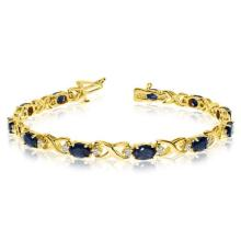 Oval Sapphire and Diamond XOXO Link Bracelet 14k Yellow Gold (7.00ctw) #PAPPS20716