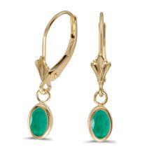 Certified 14k Yellow Gold Oval Emerald Bezel Lever-back Earrings 0.62 CTW #PAPPS27248