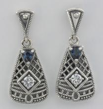 Wounderful Art Deco Blue Sapphire and CZ Filigree Earrings - Sterling Silver #PAPPS97624