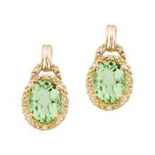 Certified 14K Yellow Gold 8x6 Oval Green Amethyst and Diamond Earrings 1.06 CTW #PAPPS27228