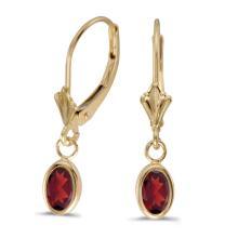 Certified 14k Yellow Gold Oval Garnet Bezel Lever-back Earrings 0.94 CTW #PAPPS27244