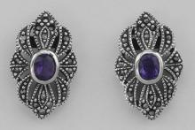 Victorian Style Amethyst Marcasite Earrings - Sterling Silver #PAPPS97648