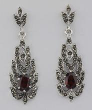 Beautiful Genuine Red Garnet and Marcasite Earrings - Sterling Silver #PAPPS97652