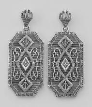 Diamond Filigree Drop Earrings - Sterling Silver #PAPPS97610