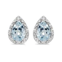 Pear Aquamarine and Diamond Stud Earrings 14k White Gold (1.20ct) #PAPPS20681