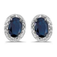 Diamond and Blue Sapphire Earrings 14k White Gold (1.20ct) #PAPPS20821