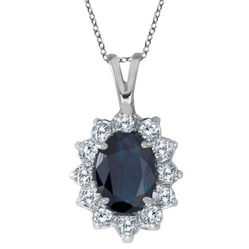 Blue Sapphire and Diamond Accented Pendant 14k White Gold (1.70ctw) #PAPPS20627