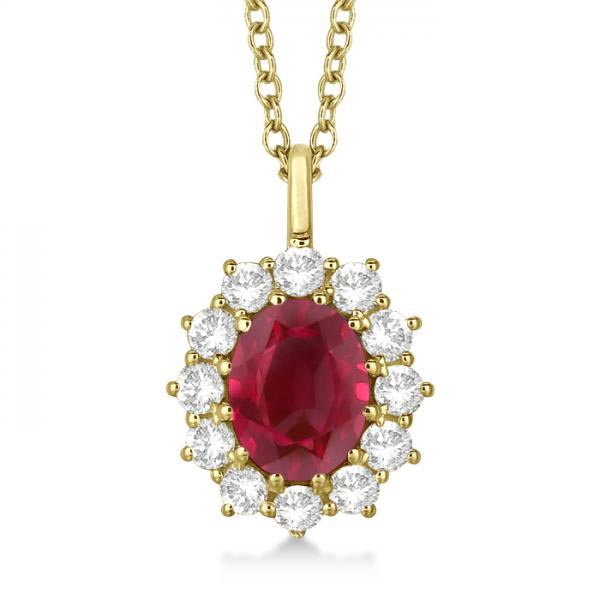 Oval Ruby and Diamond Pendant Necklace 14k Yellow Gold (3.60ctw) #PAPPS20708