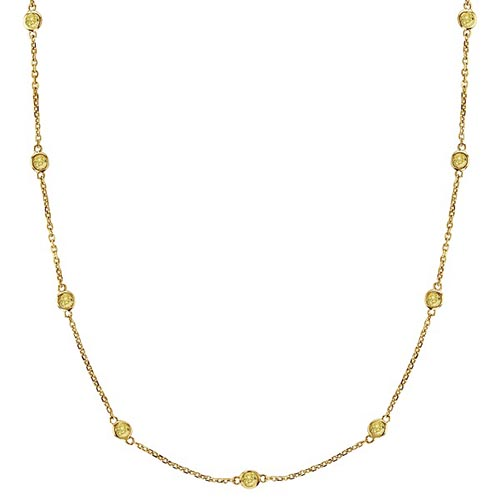 Fancy Yellow Canary Diamonds by The Yard Necklace 14k Gold (0.33ct) #PAPPS52938