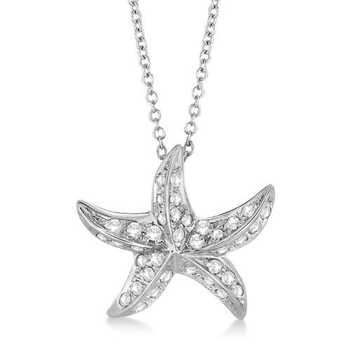 Starfish Shaped Diamond Pendant Necklace 14K White Gold (0.50ct) #PAPPS65413