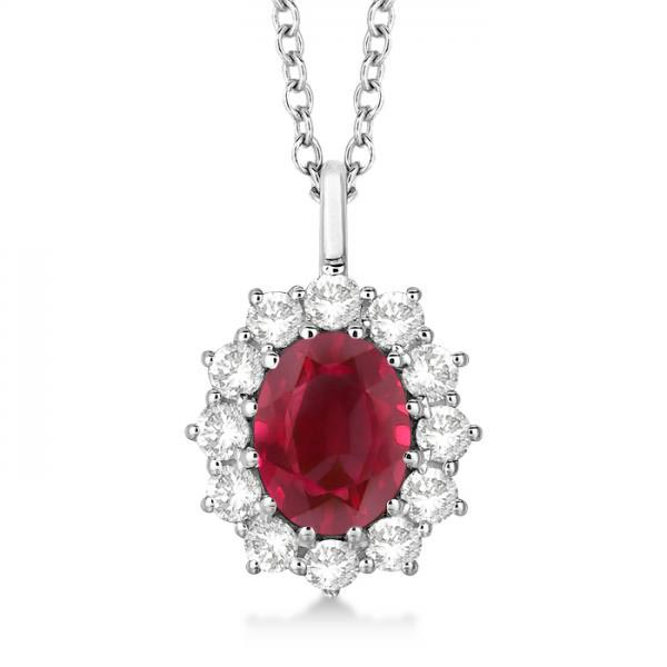 Oval Ruby and Diamond Pendant Necklace 14k White Gold (3.60ctw) #PAPPS20511