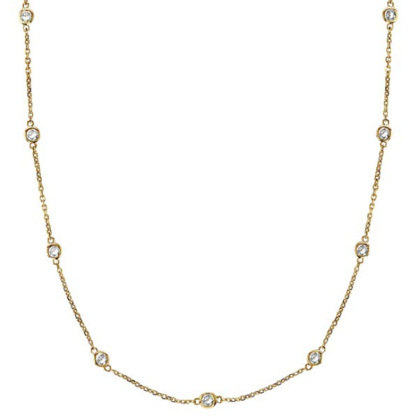 Diamonds by The Yard Bezel-Set Necklace in 14k Yellow Gold (1.00ctw) #PAPPS20396