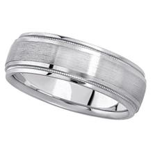 Carved Wedding Band in Palladium For Men (7mm) #PAPPS21175