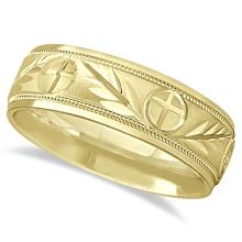 Mens Christian Leaf and Cross Wedding Band 14k Yellow Gold (7mm) #PAPPS21207