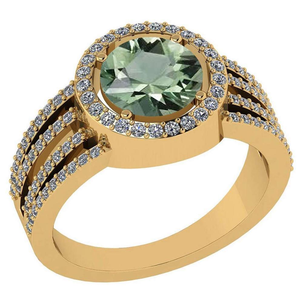 Certitifed 2.41 Ctw Green Amethyst And Diamond 14k Yellow Gold Halo Ring #PAPPS96953