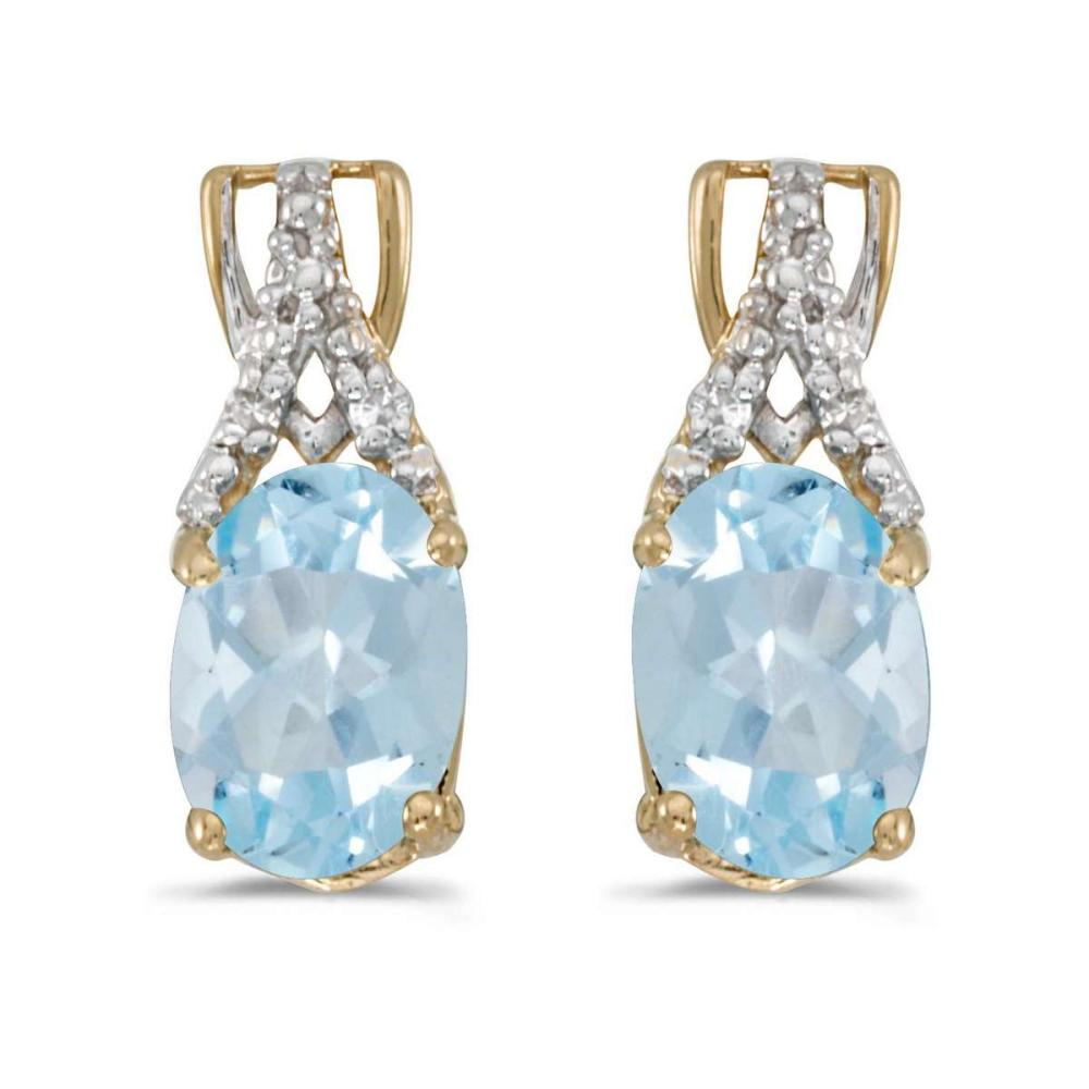 Certified 14k Yellow Gold Oval Aquamarine And Diamond Earrings 1.14 CTW #PAPPS27206