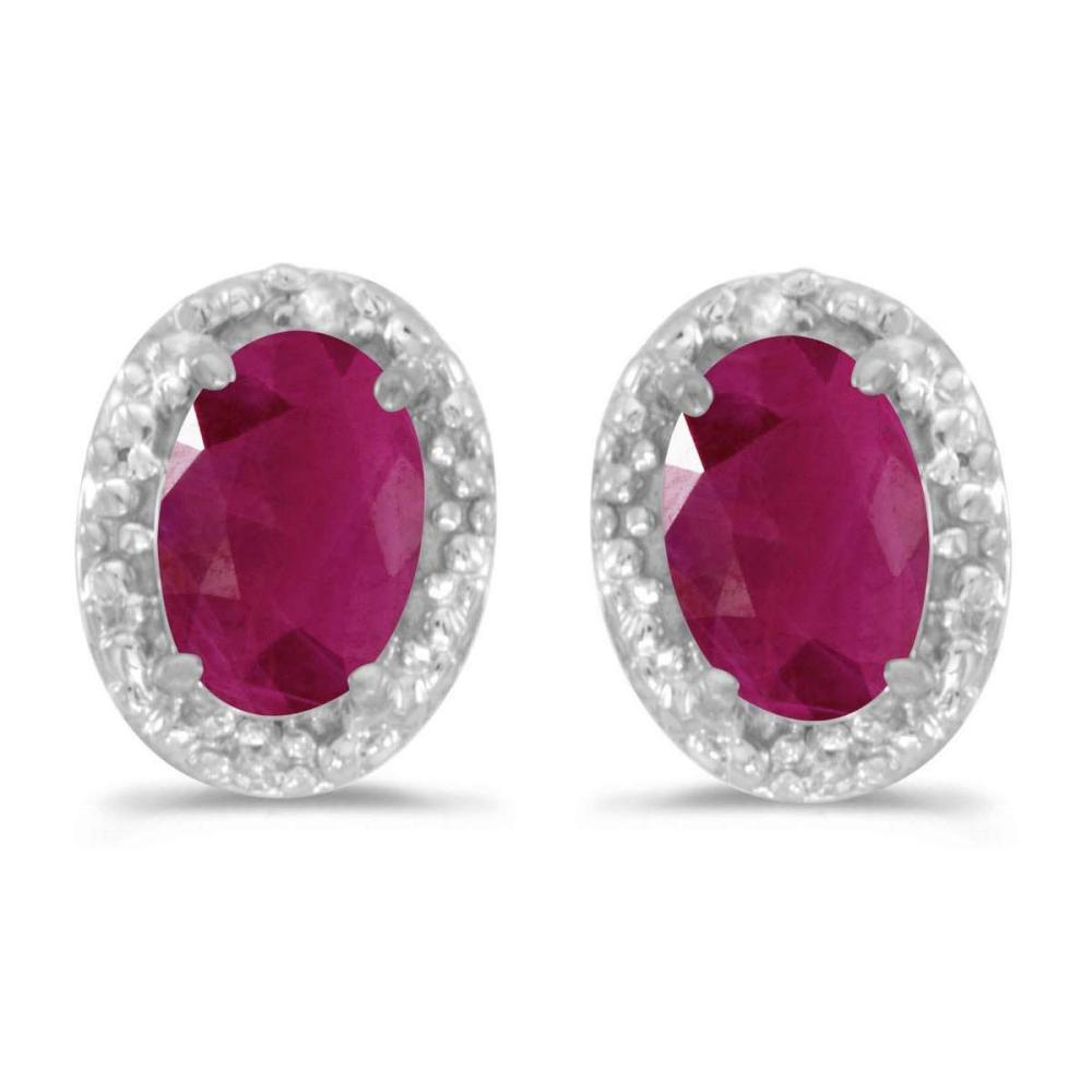 Certified 14k White Gold Oval Ruby And Diamond Earrings 0.74 CTW #PAPPS25755