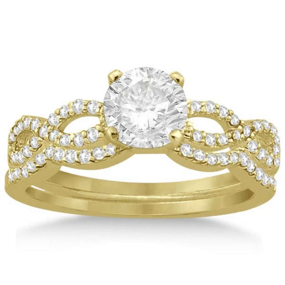 Infinity Twisted Diamond Matching Bridal Set in 14K Yellow Gold (1.24ct) #PAPPS21256