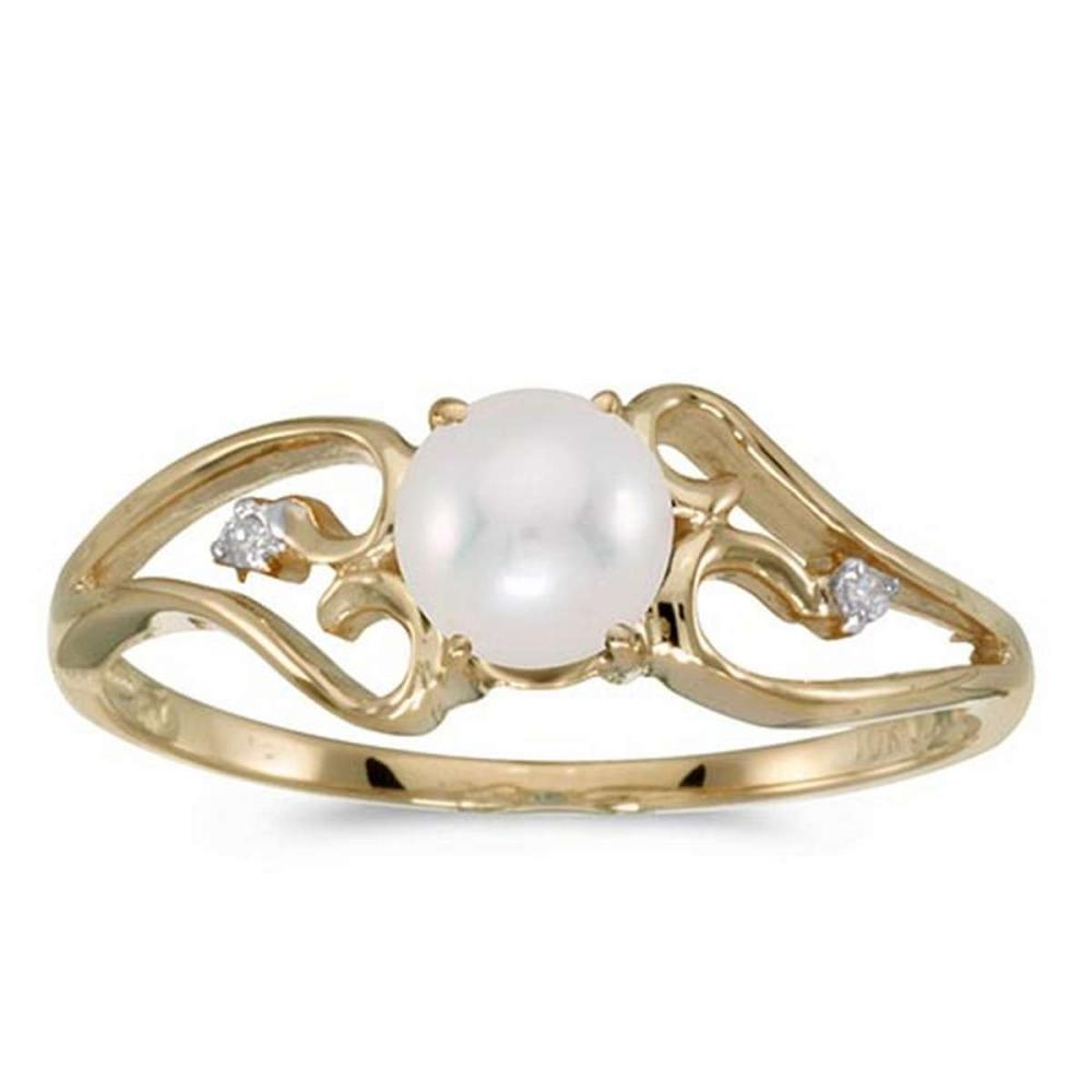 Certified 10k Yellow Gold Pearl And Diamond Ring #PAPPS50747