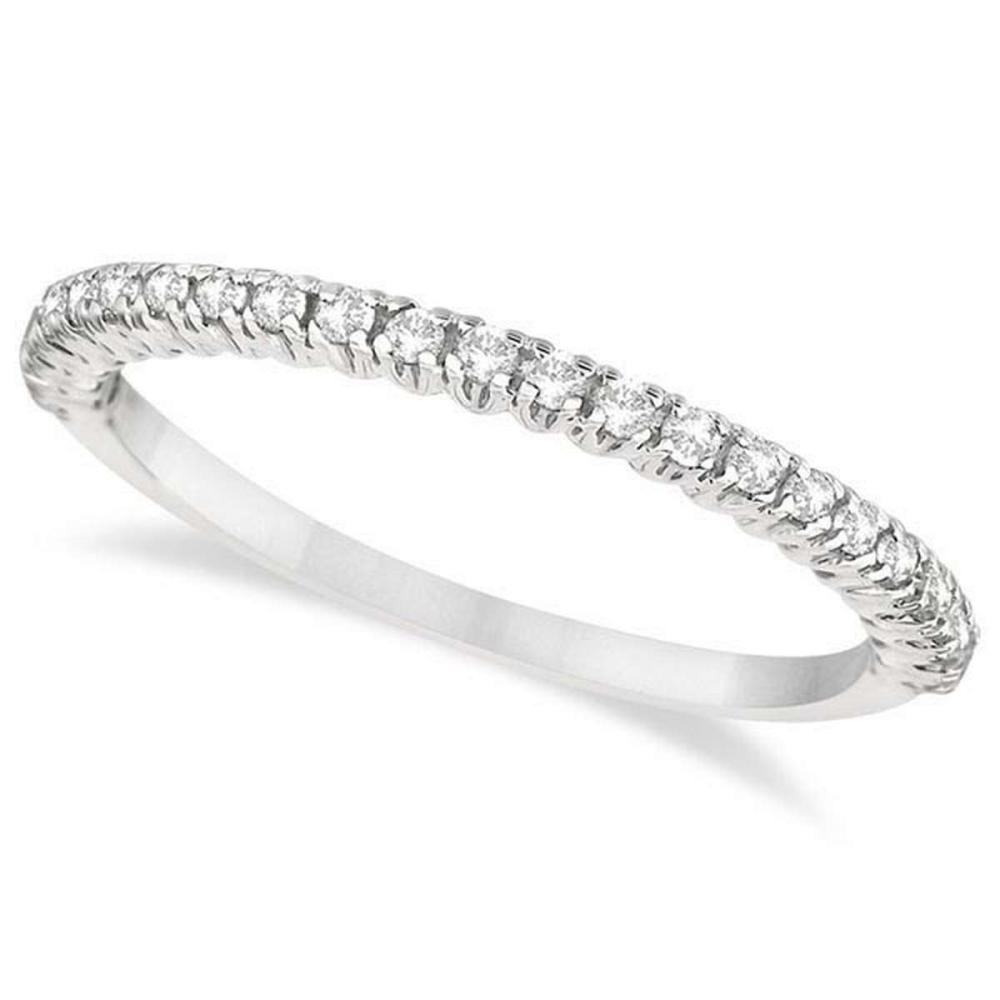 Half-Eternity Pave-Set Diamond Stacking Ring 14kt White Gold (0.25ct) #PAPPS20827