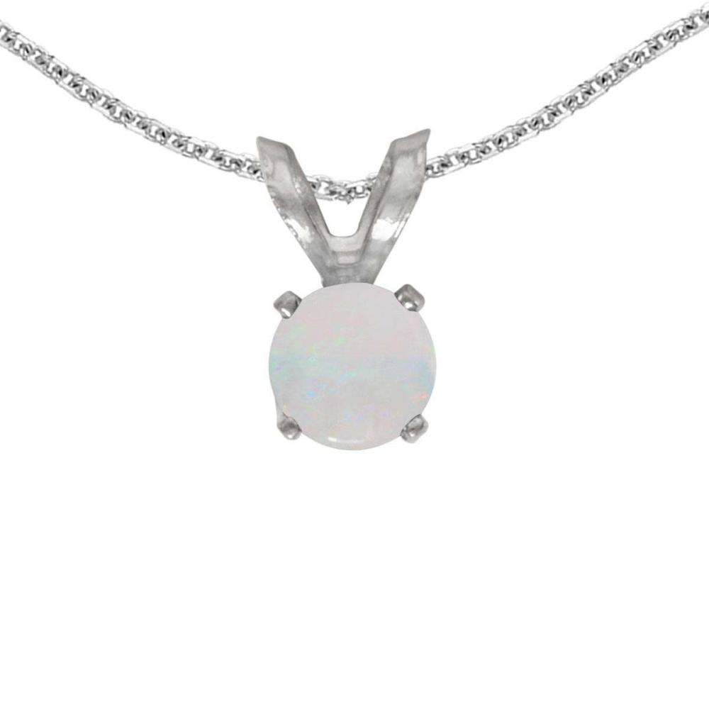 Certified 14k White Gold Round Opal Pendant 0.09 CTW #PAPPS27680