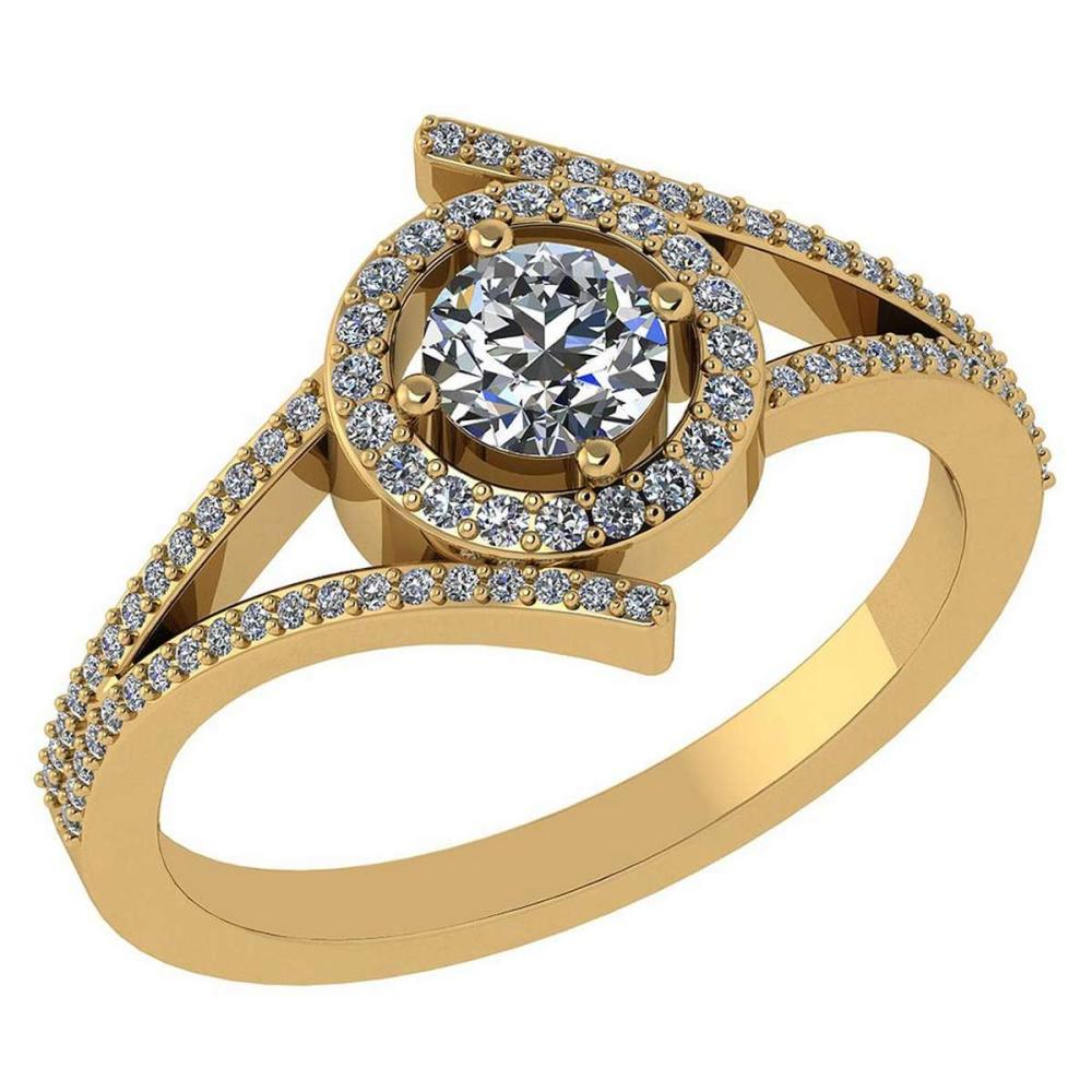 0.73 Ctw Diamond 14k Yellow Gold Halo Ring #PAPPS96266