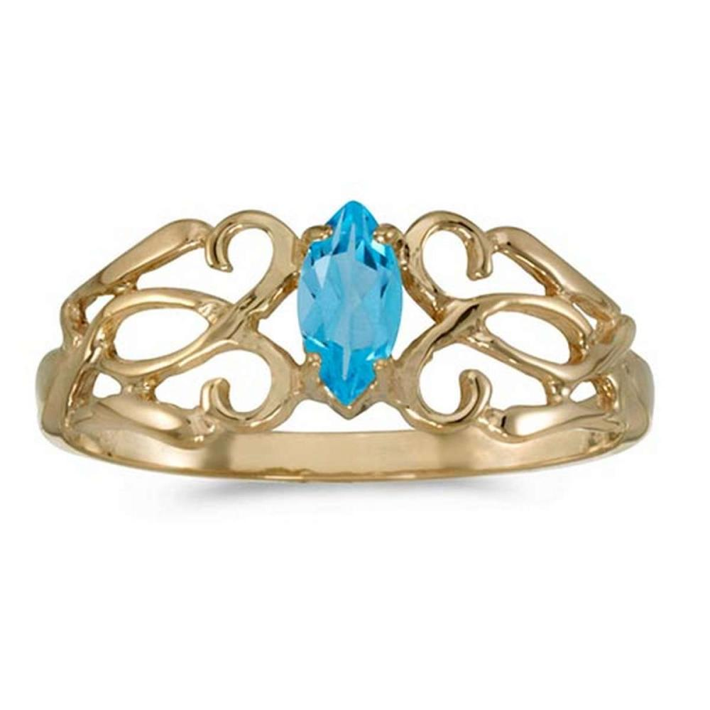 Certified 10k Yellow Gold Marquise Blue Topaz Filagree Ring #PAPPS50682