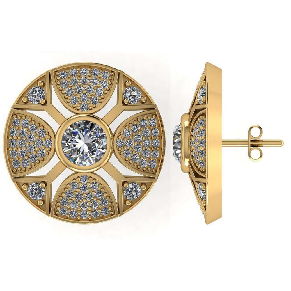 Certified 1.35 CTW Round Diamond 14K Yellow Gold Earring #PAPPS92094