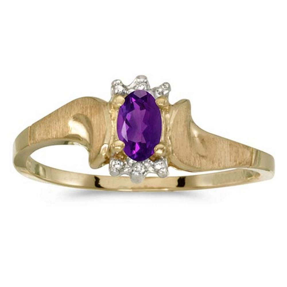 Certified 14k Yellow Gold Oval Amethyst And Diamond Satin Finish Ring #PAPPS50703