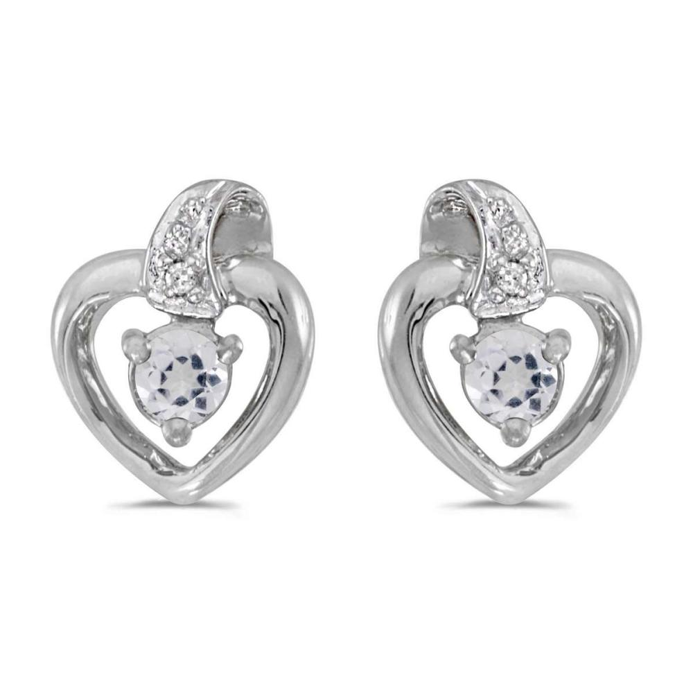 Certified 10k White Gold Round White Topaz And Diamond Heart Earrings 0.23 CTW #PAPPS24950
