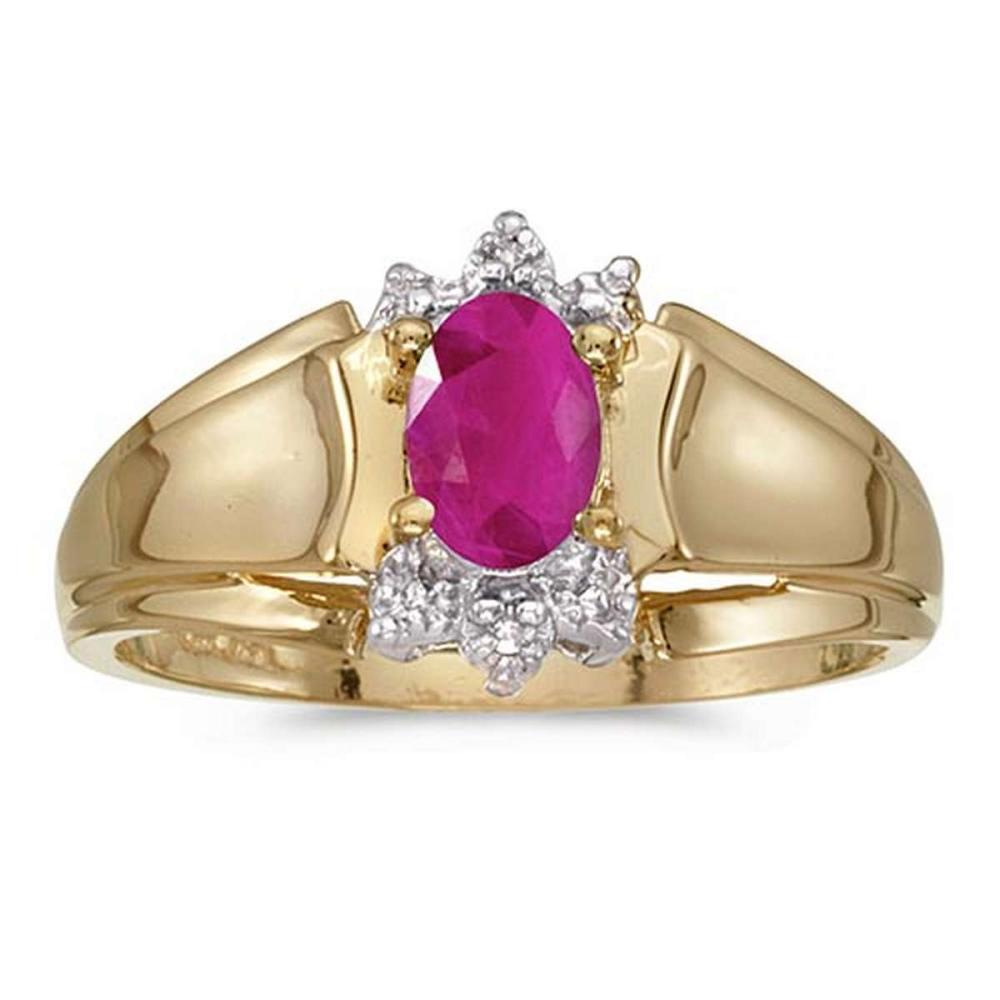Certified 14k Yellow Gold Oval Ruby And Diamond Ring #PAPPS50679